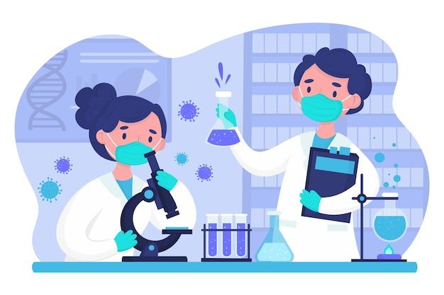科学実験室で一緒に働く人々