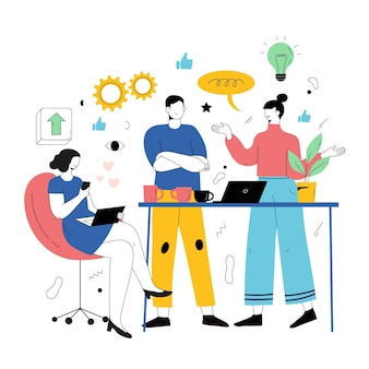 Люди, работающие вместе в стартапе