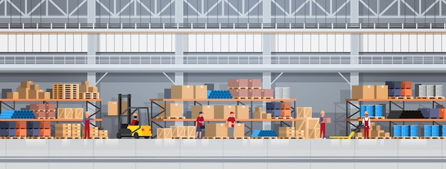 People working in warehouse lifting box with forklift. logistic delivery service concept horizontal illustration Premium Vector