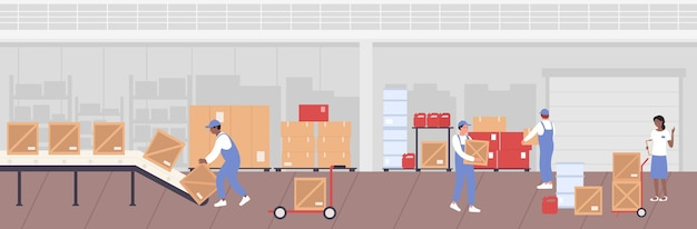 People working in warehouse storage and unload boxes from conveyor line