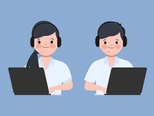 Люди, работающие с ноутбуком. колл-центр и характер обслуживания клиентов.
