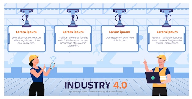 工場のワークフローでハイテク技術のシステム制御を使用している人々