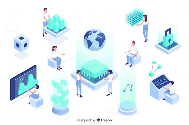 People working with technology isometric design