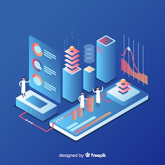 People working with technology isometric style