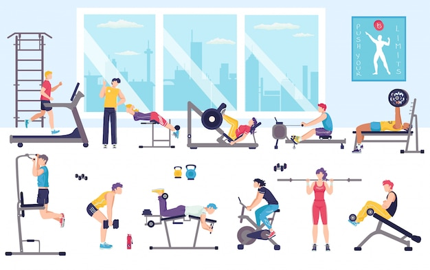 People workout in gym  illustration, cartoon  man woman characters doing sport exercises, fitness activity  on white