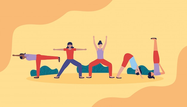 People yoga outdoor in flat style