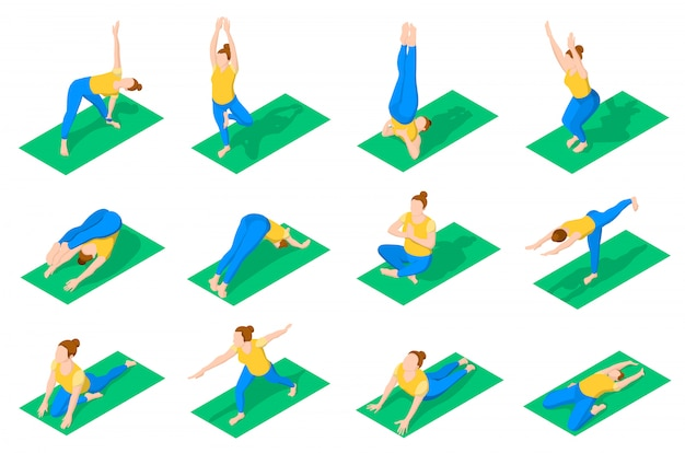 People in yoga poses isometric icons