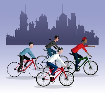 People young riding bycicle city background