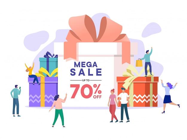 大people日、ウィンターセール、メガセールデザインバナー、ビッグセールで買い物をする人。シーズン終了特別オファー