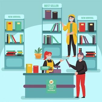 人々は距離を保ちながら書店で本を買っています
