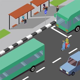 Народы держат дистанцию в ожидании автобуса на остановке