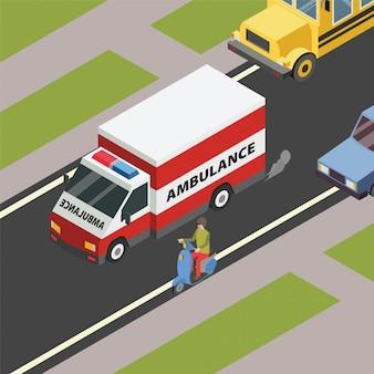 人々は病院のイラストへの道を急いで緊急の救急車の道を開いています