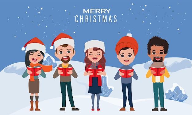 사람들의 크리스마스 caroling 노래 노래.
