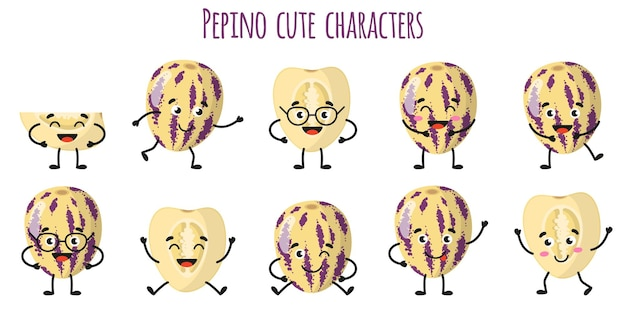 Пепино фрукты милые веселые веселые персонажи с разными позами и эмоциями