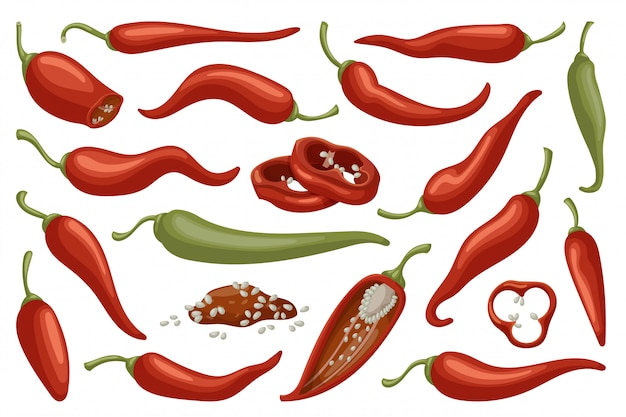 Pepper of chili cartoon icon set