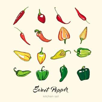 Перец изолировать набор. рисованной иллюстрации сладкий перец паприка стручковый перец чили красный острый перец
