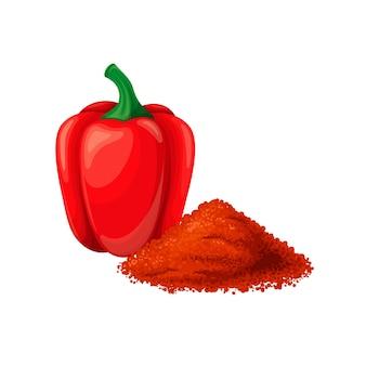 ピーマン、パプリカまたはトウガラシ。生の赤ピーマン、ビーガンフード。芳香調味料成分。トウガラシとパプリカのスパイスの分離ベクトルイラスト。