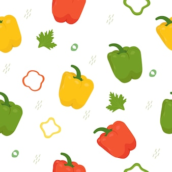 Pepper seamless vector pattern. pepper with parsley.