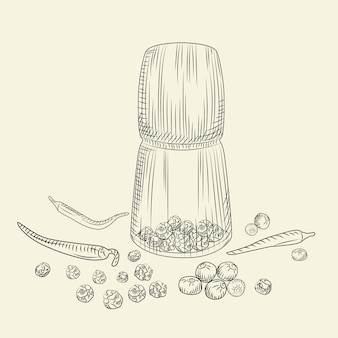 Peppercorn mill concept. pepper set. grinder spices and food ingredients.