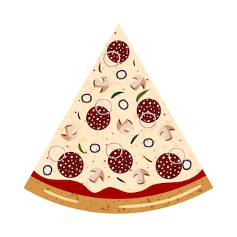 Pepperoni slice pizza top view with different ingredients: salami, mushroom, shallot, olive, chili pepper