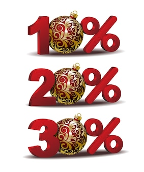 パーセント割引アイコン赤いクリスマスボールが付いた10の20および30パーセントの割引アイコン