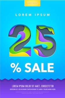 Percent discount poster or flyer  in paper art carving style. colorful bright vector illustration