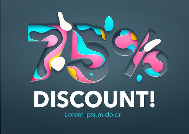 Percent discount sign  in paper art carving style. colorful bright vector illustration