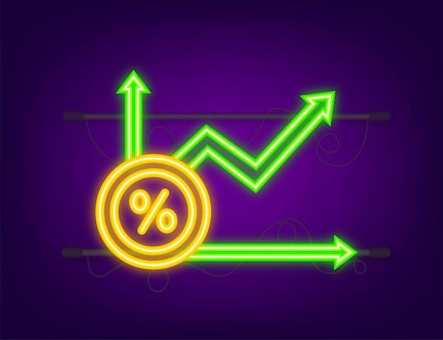 Percent growth chart. credit percentage symbol. neon style. vector illustration.