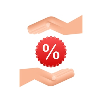 Процент в руках в 3d стиле. векторный рисунок. знак процента. векторный icon.
