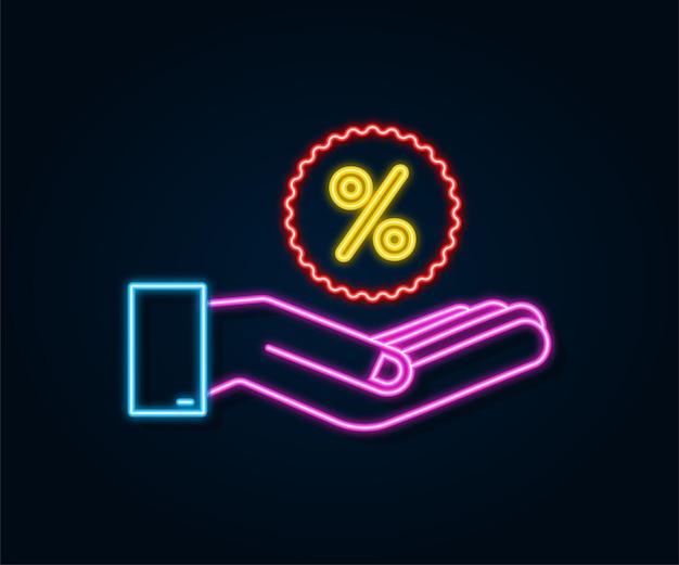 Неоновая иконка процента в руках в 3d стиле. векторный рисунок. знак процента. векторный icon.