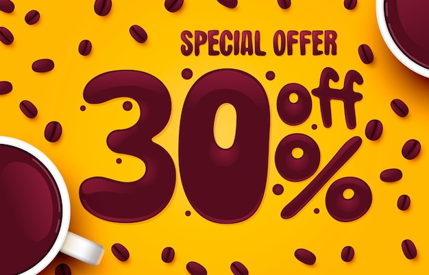 Percent off discount creative composition coffee special offer sale banner and poster vector