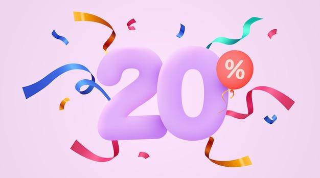 Процент скидки креативная композиция d символ продажи с декоративным баннером и плакатом продажи конфетти
