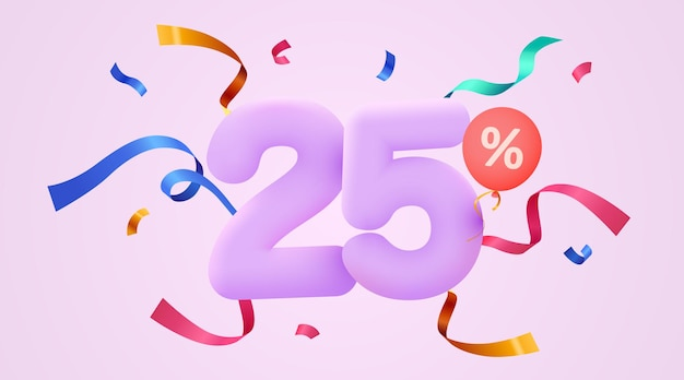 Percent off discount creative composition d sale symbol with decorative confetti sale banner and poster