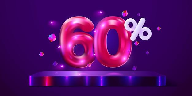 Процентная скидка креативная композиция мега распродажа неоновый баннер