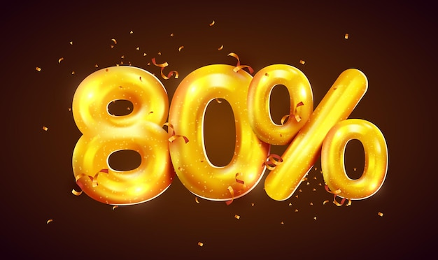 Скидка в процентах креативная композиция из мега распродажи золотых шаров или символ восьмидесяти процентов с баннером продажи конфетти
