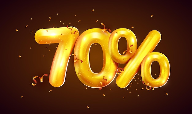 Скидка в процентах креативная композиция из мега распродажи золотых шаров или символ семидесяти процентов с баннером о продаже конфетти