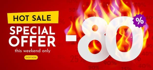 불타는 숫자 할인 포스터와 함께 뜨거운 판매 배너 % 할인