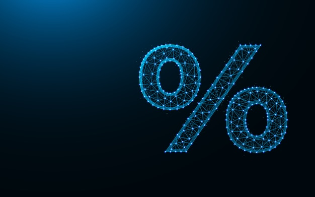 Percent sign low poly design, abstract geometric template, hundredth of a number wireframe mesh polygonal background