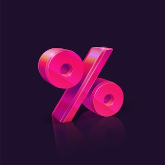 Percent sign. neon pink percent sign on dark background. seasonal sales and discounts.