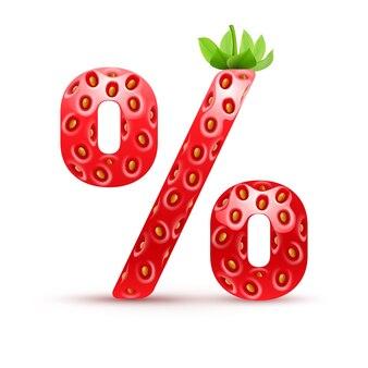 Символ процента в клубничном стиле с зелеными листьями