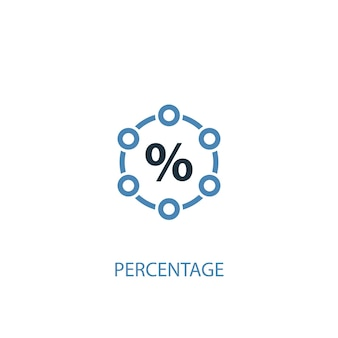 Percentage concept 2 colored icon. simple blue element illustration. percentage concept symbol design. can be used for web and mobile ui/ux