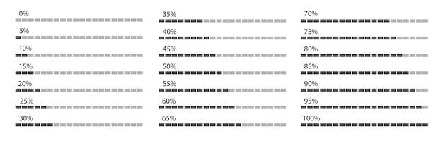 Indicatori di percentuale impostati per infografica. progettazione grafica di informazioni aziendali. illustrazione vettoriale.