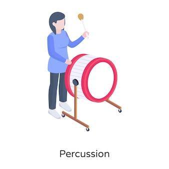Иллюстрация перкуссии в изометрическом дизайне