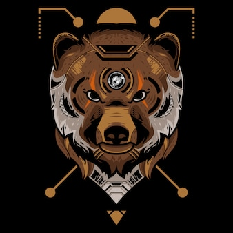 Perfect bear head vector illustration in black background