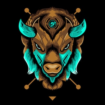 Perfect bison head vector illustration in black background