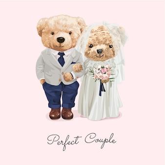 Идеальная пара лозунг с милой куклой медведя брачная пара иллюстрация