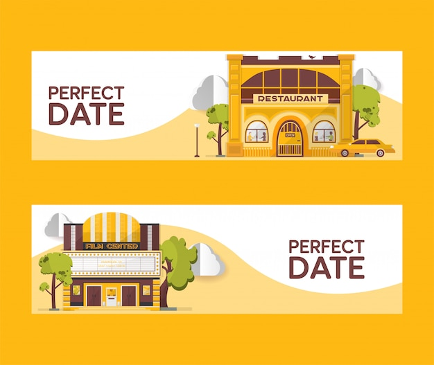 Perfect date set of banners   illustration. restaurant and cinema buildings. film center among trees. car driving to cafe. watching films. eating out. day night city.