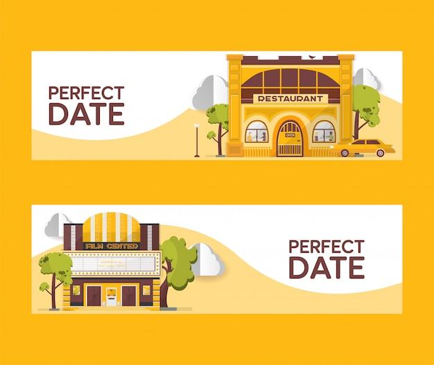 Идеальная дата набор баннеров иллюстрации. здания ресторанов и кинотеатров. киноцентр среди деревьев. авто в кафе. смотреть фильмы. питание вне дома. день ночной город.