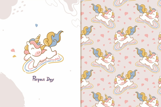 Perfect day unicorn seamless pattern
