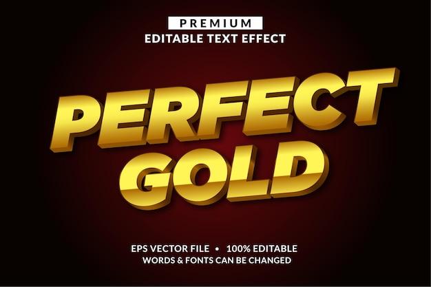 Стиль шрифта с редактируемым текстовым эффектом perfect gold